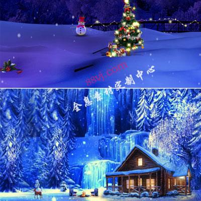 冬季圣诞节雪景全息投影,圣诞节节日全息投影素材